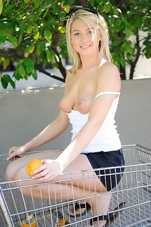 Alison Angel gets naked outdoors