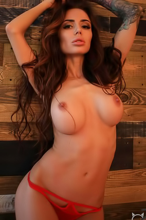 Busty Glam Babe Pheny Is Posing In Sexy Red Panties