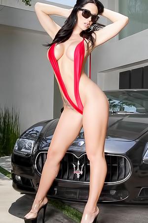 Busty Black Haired MILD Pornstar In Carwashing