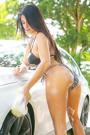 Busty Latina Chloe Parsa Washing Car And Her Tits