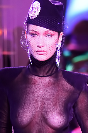 BELLA HADID'S TITS AT PARIS CATWALK