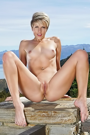Slim And Short Haired Makenna Blue Nude
