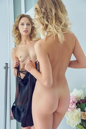 Clarice Admiring her tight body while trying on sexy lingerie