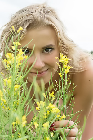 Casey Nature loving teen gets naked in a field of wild flowers