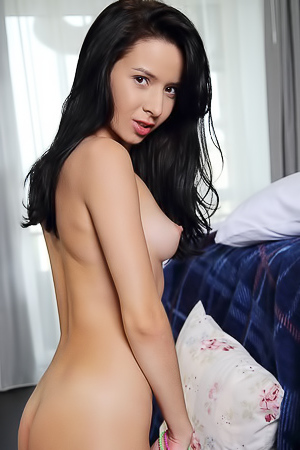 Aurelia Perez - Spreading her shaved pussy open really turns this babe on