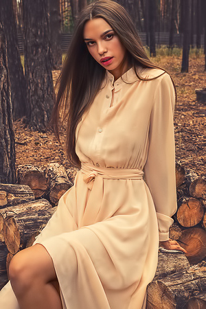 Alina stripping long dress in the woods