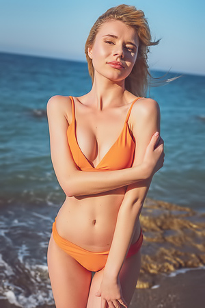 Angel Sway In Sexy Orange Bikini